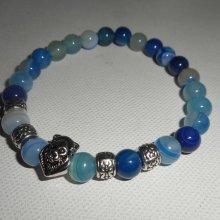 Bracelet en pierres d'agates bleues et lion en argent