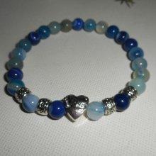 Bracelet en pierres d'agates bleues et coeur en argent