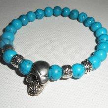 Bracelet en pierres de turquenite bleu avec tête de mort en argent pour homme