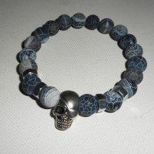 Bracelet en pierres d'agates grises avec tête de mort en argent pour homme