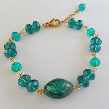 Bracelet en Verre de Murano vert et cristal de bohème