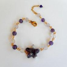 Bracelet en pierres dAméthyste avec étoile