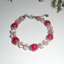 Bracelet en pierres de jade fuschia et cristal rose