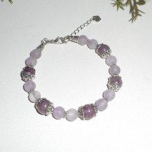 Bracelet en pierres d'améthyste et lapidonite