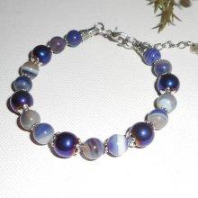 Bracelet en pierres d'agates violet et hématites