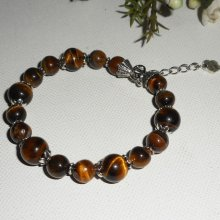 Bracelet en pierres d'oeil de tigre marron