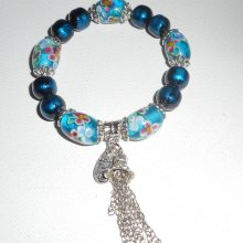 Bracelet perles en verre de Murano fleuri et pierres en hématite bleu