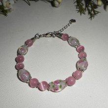 Bracelet en perles de Murano fleuri rose avec cristal