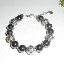 Bracelet en pierres d'hématites et perles en métal argent