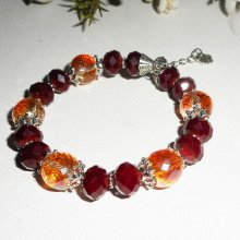 Bracelet en perles en cristal rouge bordeaux et orange