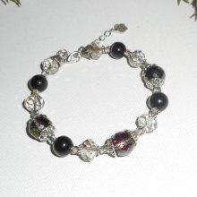 Bracelet en perles de Murano gris avec cristal