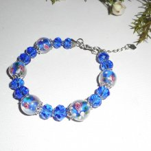 Bracelet en perles de Murano fleuri rose avec cristal bleu