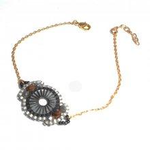 Bracelet cercle en perles de miuki tissé sur chaine plaqué or