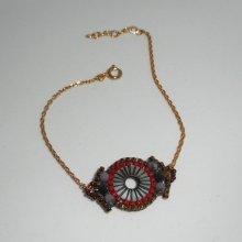 Bracelet cercle en perles de miuki rouge tissé sur chaine plaqué or