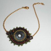 Bracelet cercle en perles de miuki vert tissé sur chaine plaqué or