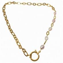 Collier grosse chaine avec perles de culture