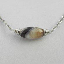 Collier solitaire avec pierre en agate tube et perles en acier inoxydable