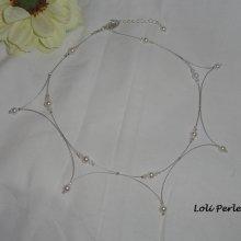 Collier de mariage en perles de cristal de Swarovski nacré et blanc