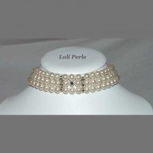 collier de mariage en perles de verre nacré