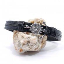 Bracelet ancre et gouvernail sur cuir noir