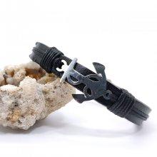 Bracelet ancre en acier sur cuir noir