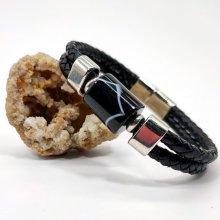 Bracelet pierre d'onyx tonneau sur cuir noir double-rangs pour homme