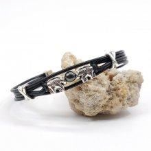 Bracelet éléphants avec pierre sur cordons en cuir noir