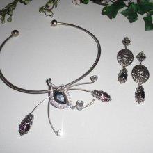 Parure Collier original en métal soudé avec cristal de Swarovski et bohème gris