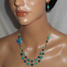Parure Collier pierres Lapis Lazzuli et Turquoise avec papillon