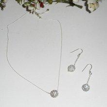 Parure collier en argent 925 avec perles en cristal de Swarovski sur fine chaine