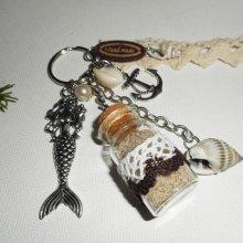 Porte clés/Bijoux de sac sirène avec bouteille coquillage et ancre